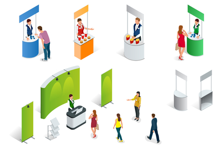 Isometric set of Promotion Stands on a white background. Vector exhibition or trade show booth Vettoriali