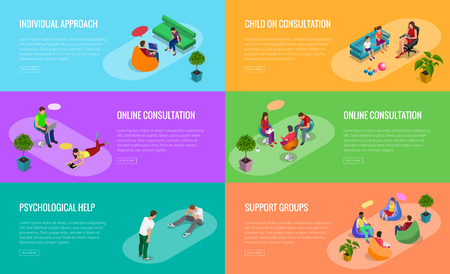 Psychological therapy concept. Coach and support group in individual during psychological therapy. Flat isometric vector illustration.