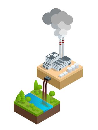 basurero: Contaminación isométrica del medio ambiente. La planta vierte agua sucia en el río, las pipas humean y contaminan el aire.