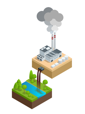 Isometric Pollution of the environment concept. The plant pours dirty water into the river, the pipes smoke and pollute the air.