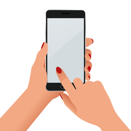 woman cellphone: Female hand holding a phone with blank screen. Flat Isolated illustration on white background Illustration