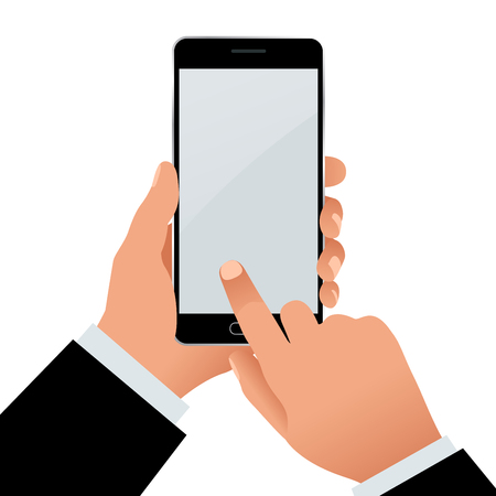 phone isolated: Male hand holding a phone with blank screen. Flat Isolated illustration on white background
