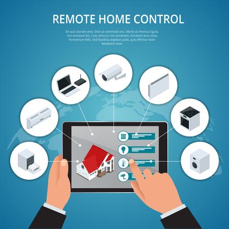 Smart House e internet del concepto de cosas. El teléfono inteligente controla el hogar inteligente, como el enchufe inteligente, el refrigerador, la cafetera, la lavadora, el microondas y los iconos planos del centro de música. ilustración