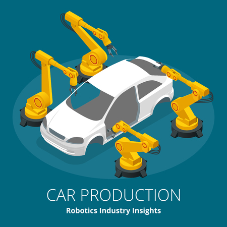 Car manufacturer or car production concept. Robotics Industry Insights. Automotive and electronics are top industry sectors for robotics use. Flat 3d vector isometric illustration Illustration