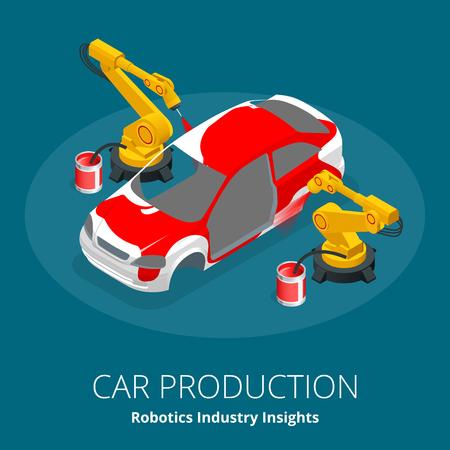 Concept de fabrication de voiture ou de voiture. Perspectives de l'industrie de la robotique. L'automobile et l'électronique sont les principaux secteurs d'activité pour l'utilisation de la robotique. Illustration isométrique de vecteur 3D plat