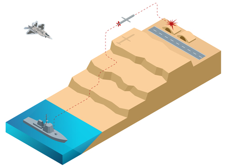 Isometric Land Attack Missile, long-range, all-weather, subsonic cruise missile. A missile launched from a warship for a given object.