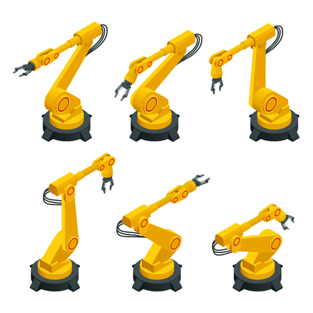 Braccio robotico isometrico, mano, set di icone vettoriali piatto robot industriale. Approfondimenti dell'industria della robotica. L'industria automobilistica e l'elettronica sono i settori industriali più importanti per l'uso della robotica. Illustrazione vettoriale piatto 3d.
