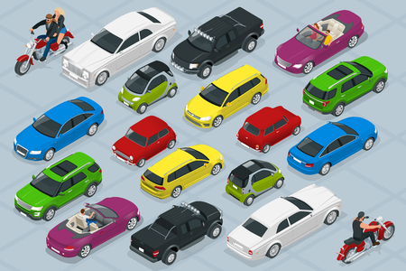 Isometric high quality city transport car icons set