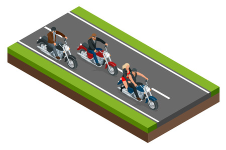 Isometric bikers on a motorcycle on the road. The concept of freedom and travel. Illustration