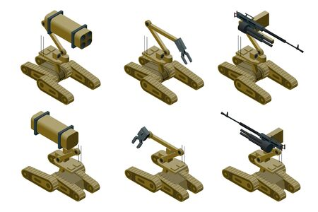 Set of a Military robots of khaki color on white background. Isolated isometric vector illustration Illustration