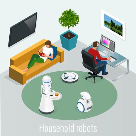 Robot isométrique concept de ménage et de la technologie. Femme avec tablette et homme avec ordinateur pc et robots à la maison Vecteurs