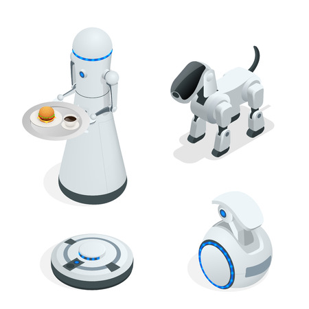 Household isometric robots engineered for people assistance and convenience. Set of vector illustration Vectores
