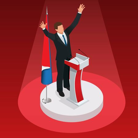The man is the winner in the elections. Presidential Elections Illustration