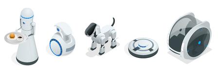 사람들의 편의와 편의를 위해 설계된 가정용 아이소 메트릭 로봇 일러스트