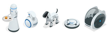 Household isometric robots engineered for people assistance and convenience Stock Illustratie