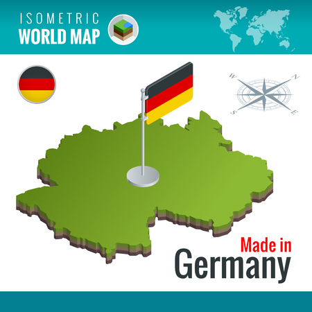 Isometric map and flag of the Germany or Deutschland.