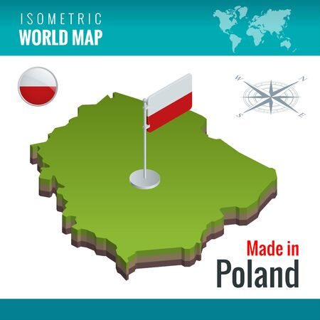 Isometric map and flag of the Poland, officially the Republic of Poland. Country in Central Europe.