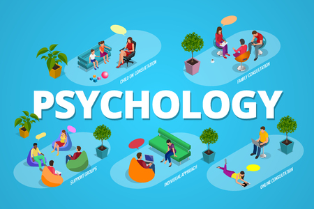 group therapy: Psychological therapy concept. Coach and support group in individual during psychological therapy. Flat isometric vector illustration.