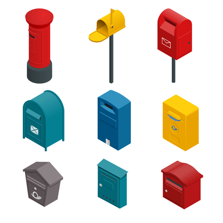 Isometric set of a post box or written postbox, collection box, mailbox, letter box or drop box. Flat vector colourful collection isoleted on white.