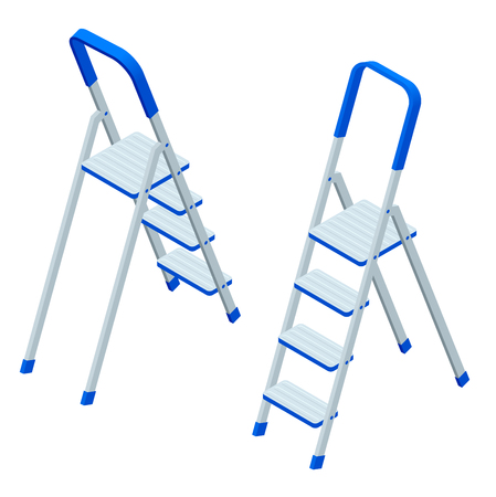 Isometric vector stepladder isolated on white. Aluminum ladder. Ladder for workers, painters, engineers, repairman Illustration