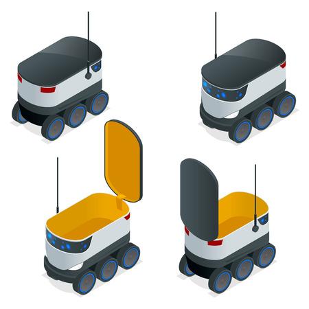 Los robots isométricos entregan pedidos para llevar. Puede transportar hasta 10 kilogramos o tres bolsas de compras y tiene un alcance de 10 millas. Ilustración vectorial plana Ilustración de vector
