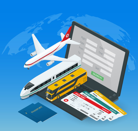 vacation with laptop: Online purchase or booking of tickets for an airplane, bus or train. Travel around the world and countries. Recreation and entertainment. Business trip. Vector isometric illustration Illustration