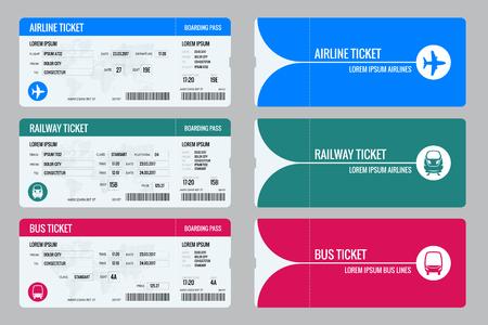 Set di biglietti aereo, bus e treno. Viaggia in tutto il mondo e paesi. Ricreazione e intrattenimento. Viaggio di lavoro. Illustrazione isometrica di vettore Isolato su sfondo bianco Disegno vettoriale Vettoriali