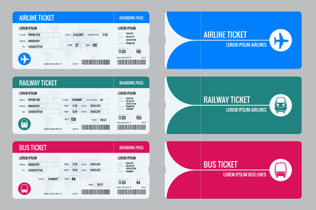 Set of tickets airplane, bus and train. Travel around the world and countries. Recreation and entertainment. Business trip. Vector isometric illustration. Isolated on white background. Vector design Ilustração
