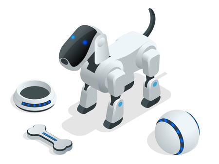 Isometric set of Techno Robot dog.