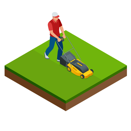 Man maait het gazon met gele grasmaaier in de zomer. Gazon gras service concept. Isometrische vectorillustratie
