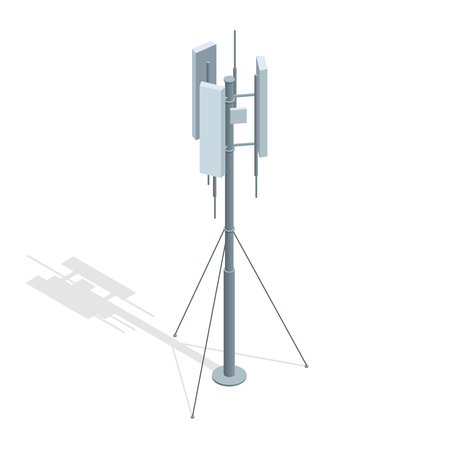 transmit: Isometric Telecommunications towers. A mobile phone communication repeater antenna vector flat illustration.
