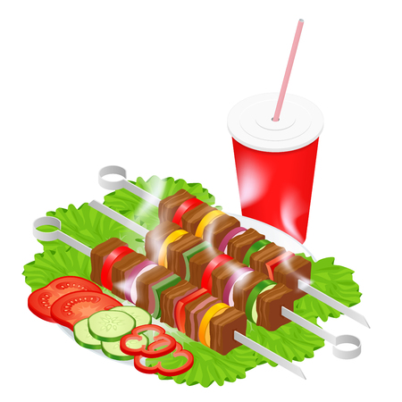 Barbecue design elements. Grill summer food. Picnic cooking device. Flat isometric illustration. Family weekend. BBQ is both a cooking method and an apparatus.