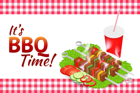 Barbecue party horizontal banner. Grill summer food. Picnic cooking device. Flat isometric illustration. Family weekend. BBQ is both a cooking method and an apparatus.