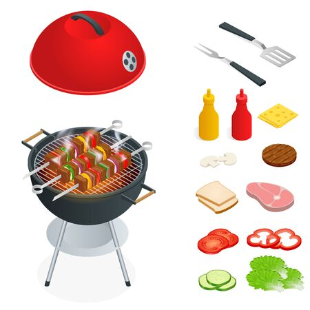 バーベキューのデザイン要素です。グリル料理が夏。ピクニック調理器具。フラット等角投影図。家族の週末。バーベキューは、調理法と装置の両  イラスト・ベクター素材