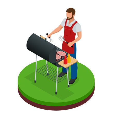 Male preparing barbecue outdoors. Grill summer food. Picnic cooking device. Flat isometric illustration. Family weekend. BBQ is both a cooking method and an apparatus. Ilustração