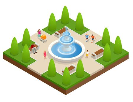 Bella fontana nel parco. Una zona di riposo e relax. I bambini giocano vicino alla fontana. Piatto vettoriale isometrica su sfondo bianco