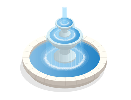 美しい 3 つのレベルの丸い噴水。休息とリラクゼーションのゾーン。白い背景の平面ベクトルを等尺性  イラスト・ベクター素材