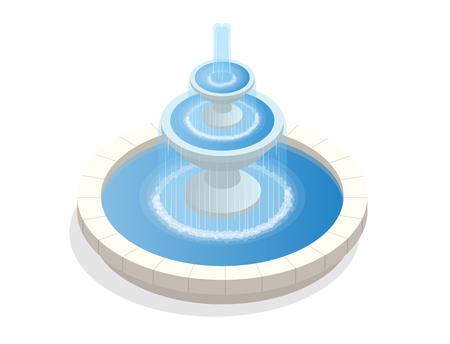 Hermosa fuente redonda de tres niveles. Una zona de descanso y relajación. Vector plano isométrica sobre fondo blanco Foto de archivo - 78759186
