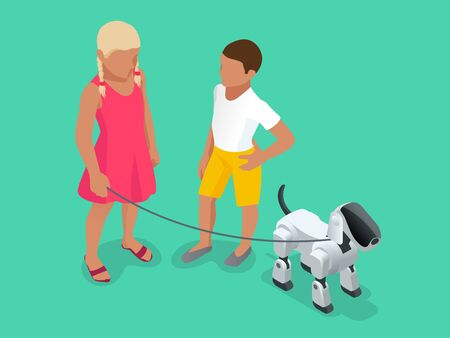 Isometric Techno Robot concept. A girl and a boy on a walk with a robot dog. Illustration