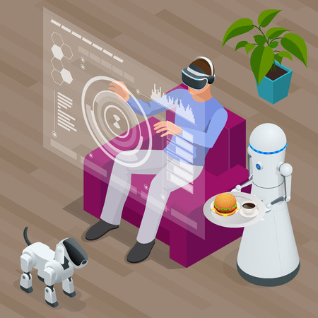 industry electronic: Isometric Techno Robots and Man sitting on sofa at home wearing Virtual Reality Headset. Illustration
