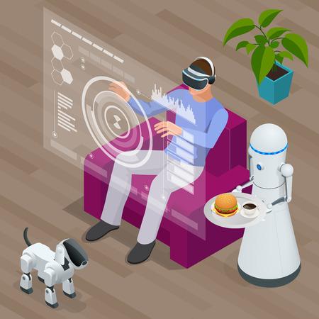 Robots techno isométrique et homme assis sur un canapé à la maison portant casque de réalité virtuelle.