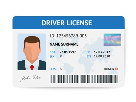 Plantilla de tarjeta plástica de la licencia de conductor plano, ilustración de vector de tarjeta de identificación