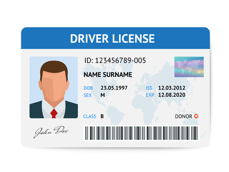 Flat man driver license plastic card template, id card vector illustration