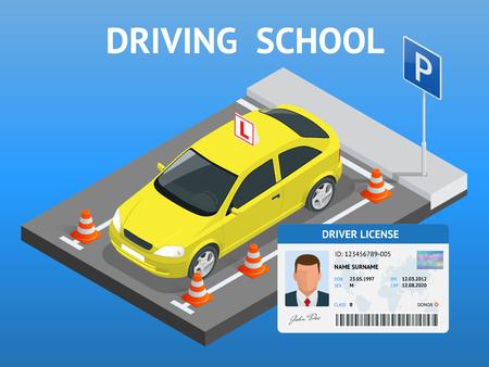 Diseño de concepto de conducción de la escuela o aprender a conducir. Ilustración isométrica plana