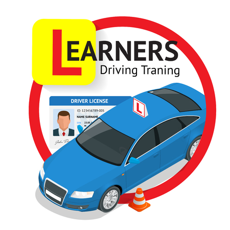 Design concept driving school or learning to drive. Flat isometric illustration Çizim