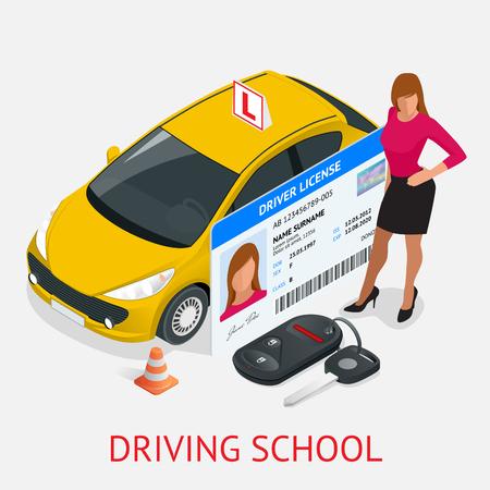 Koncepcja projektu jazdy szkoły lub nauki jazdy. Płaski izometryczny ilustracji Ilustracje wektorowe