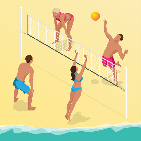 Beach volley ball player jumps on the net and tries to blocks the ball. Summer active holiday concept. Vector isometric illustration