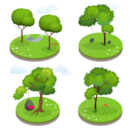 Isometric Rope Hammock between two trees, Hammock Chair, Swing and Swing tire. Flat vector illustration. Illustration