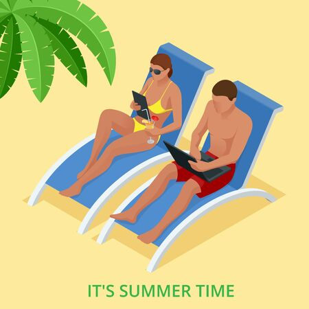 vacation with laptop: It s Summer time. Summer party concept. Fun, party, background, vector, picture, art, image, design, travel, poster, event