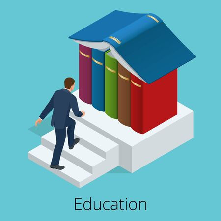 institute: A man climbs the stairs to knowledge. Books are the source of knowledge. Training concept. Vector isometric illustration